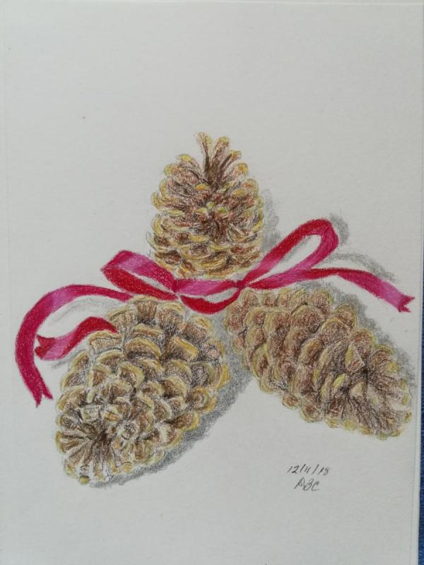 12-11-18 - Three Pine Cones with Red Ribbon